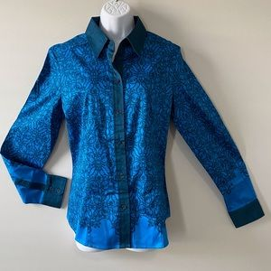 NWT New York & Company Button Up Stretch Blouse L